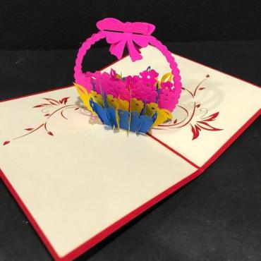 Открытка ручной работы «Корзинка цветов»