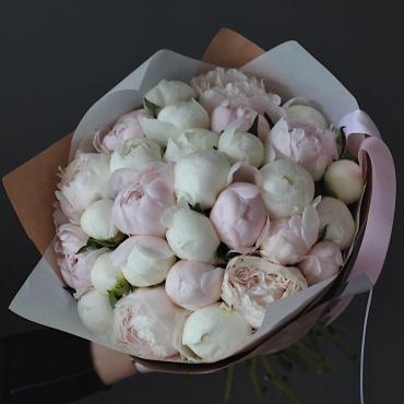 Ароматный букет из 27 бело-розовых пионов