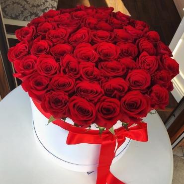 51 роза Эквадор в шляпной коробке №50