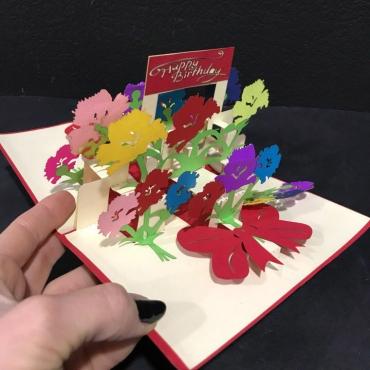 Открытка ручной работы с днем рождения «Цветочный сад»